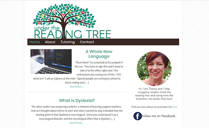 Under The Reading Tree blog design